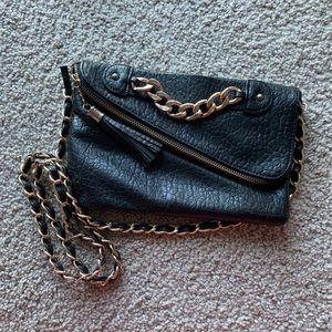Black faux leather cross body bag